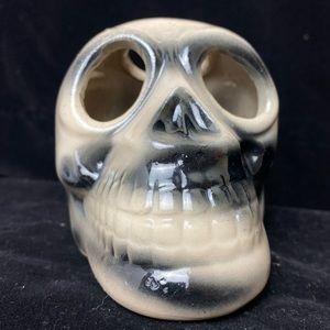 EUC Vntg Ceramic White & Black Human Skull Decor